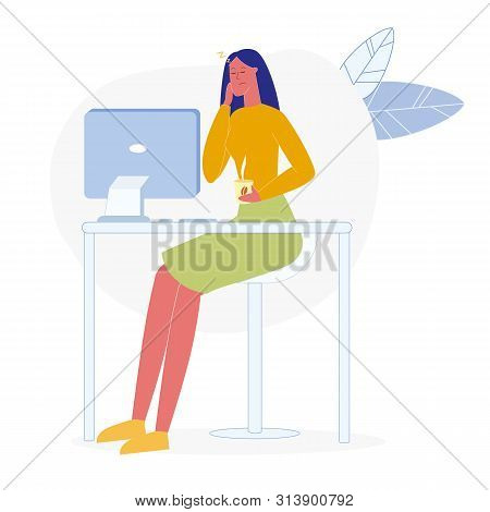 Lady Working Overtime Flat Vector Illustration. Tired Businesswoman, Sleepy Office Worker Cartoon Ch