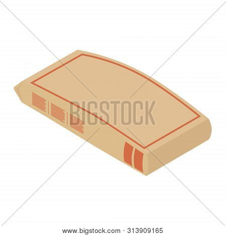 Cement Bag. Paper Sack Isolated On White Background Isometric View.