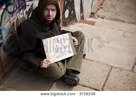 Hobo With Placard