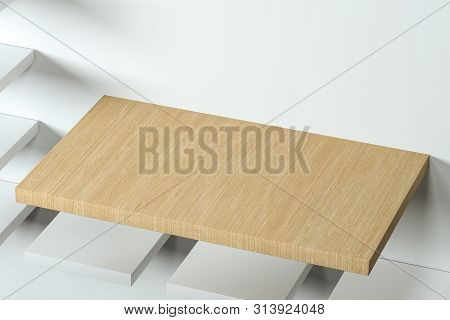 3D Rendering, The Wooden Cubic Platform In The White Empty Room.