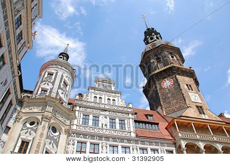 House facades on the Neumarkt in Dresden, Germany