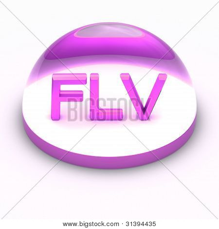 3D Style file format icon over white background - FLV poster