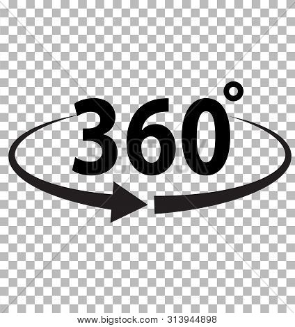 360 Degrees Icon On Transparent Background. Flat Style. 360 Degrees Sign. Rotate 360 Degress Icon Fo
