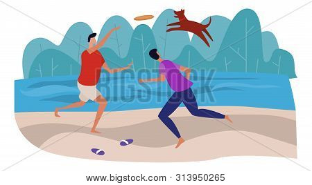 Men Are Playing Frisbee With The Dog On The Beach Near The Sea. Having Fun And Active Resting Togeth