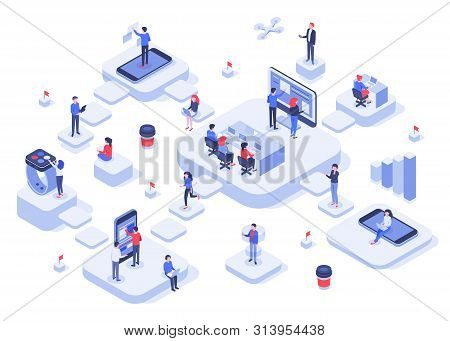 Isometric Work Team. Cloud Workplaces Platforms, Modern Teams Workflow Process And Development Compa
