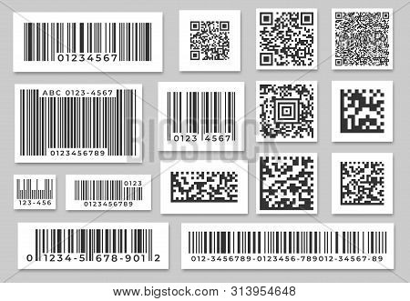 Barcode Labels. Code Stripes Sticker, Digital Bar Label And Retail Pricing Bars Labeling Stickers. I