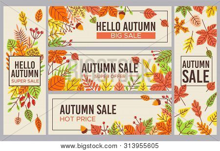 Fall Sale Banners. Autumn Season Sales Promotion Banner, Seasons Discount And Autumnal Poster With F