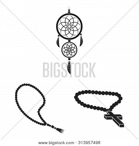 bitmap design of jewelery and necklace sign. Set of jewelery and pendent stock bitmap illustration. poster