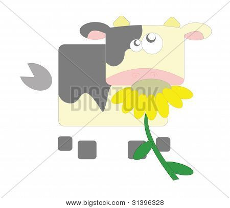 Cow with flower