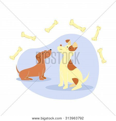 poster of Cute Little Dogs, Puppies Flat Vector Illustration. Happy Dachshund and Smiling Spotted Pooch Cartoon Characters. Man Best Friends, Hungry Domestic Animals Surrounded with Bones, Canine Food