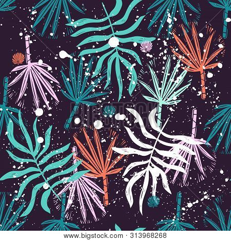 Abstract Seamless Vector Tropical Leaves Pattern For Girls, Boys, Clothes. Creative Background With
