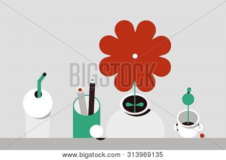 Flower And Household Items. Flat Design Style Minimal Vector Illustration. Use In Web Project And Ap