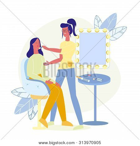 Makeup Artist Occupation Flat Vector Illustration. Professional Beautician And Celebrity In Armchair
