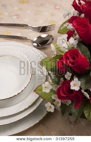 Empty Table Setting Cutlery