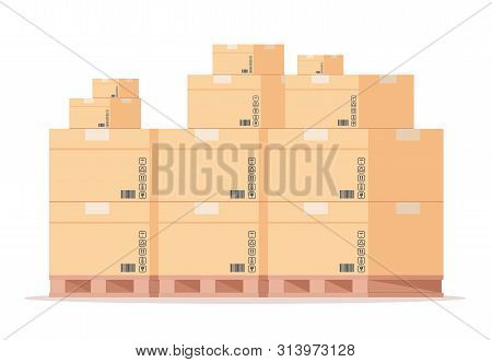 Carton Box Pallet. Flat Warehouse Cardboard Packages Stack, Front View Shipping Parcels On Storage.