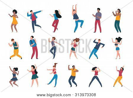 Dancing People. Trendy Party Cartoon Crowd, Modern Young Dancing Characters, Friends Couples And Hap