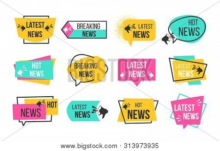 News Badges. Newspaper And Magazine Braking Latest And Hot News Stickers. Vector Announcement Geomet