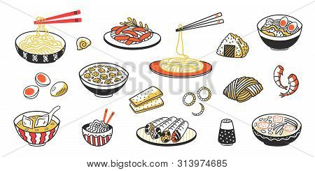 Doodle Asian Food. Chinese Noodles Delicious Soup Meat Slices And Sauces. Vector Vintage Sketch Of E