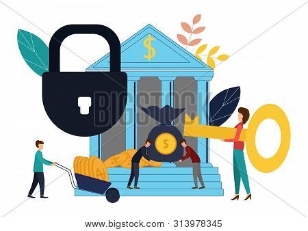 Vector Illustration, Concept Of Money Protection, Financial Savings Insurance, Business Security. Fl