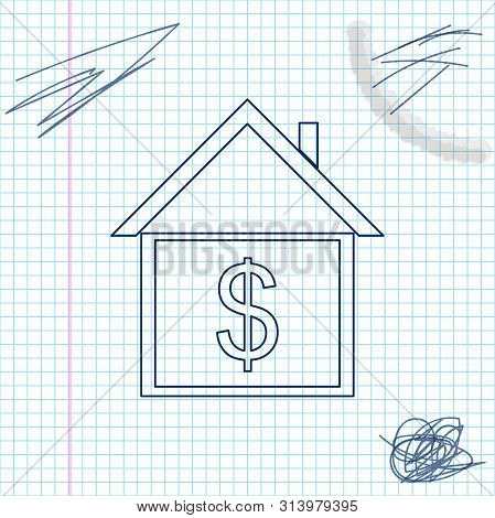 House With Dollar Line Sketch Icon Isolated On White Background. Home And Money. Real Estate Concept