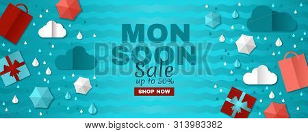 Rainy Offer. Creative Monsoon Sale Banner With Colorful Cloud, Umbrella, Gift Box And Package. White