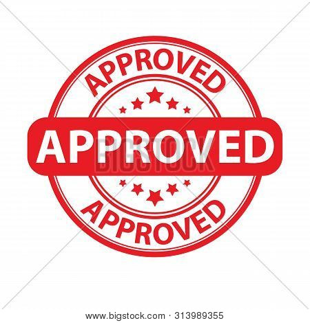 Red Round Approved Stamp With Stars. Round Approved Stamp Red Color, Positive Answer Vector Eps10. A