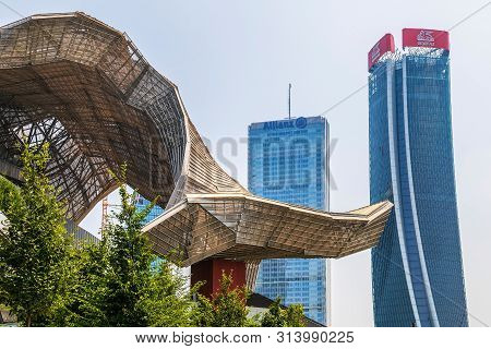 Milan, Italy - June 28, 2019 - Isozaki Tower And Hadid Tower In City Life Complex, Tre Torri Milan P