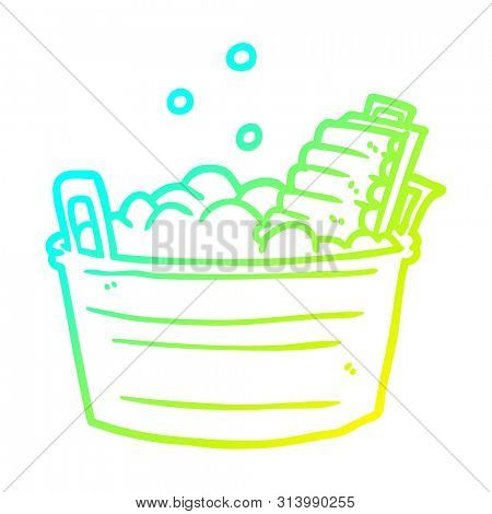 cold gradient line drawing of a old laundry washboard and bucket