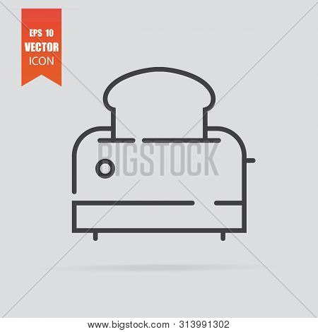 Toaster Icon In Flat Style Isolated On Grey Background.