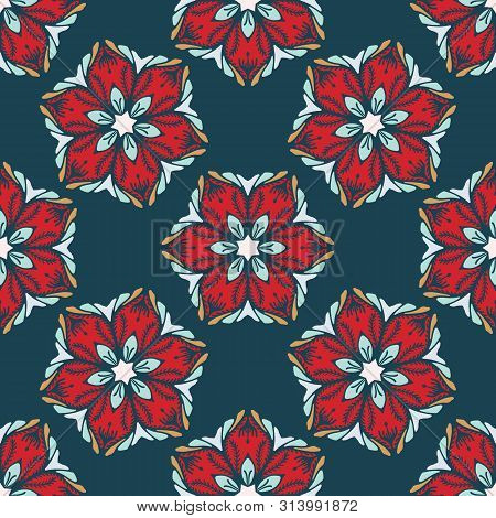 Hand Drawn Abstract Christmas Flower Pattern. Stylized Poinsettia Floral On Green Background. Winter