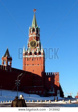 a view of the spasskaya (savior) tower, moscow, russia poster