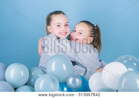 Birthday Party. Happiness And Cheerful Moments. Carefree Childhood. Start This Party. Sisters Organi
