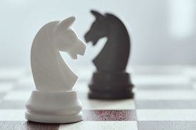 White Chess Horse Close Up On A Black Horse In A Blur. The Concept Of Confrontation. Chess Is An Str