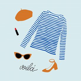 Stylish Parisian Outfit Illustration With Blue Striped T-shirt, Shoes, Sunglasses, Orange Beret And