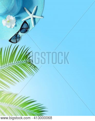 Tropical Summer Beach Background. Palm Trees Branches, Hat With Starfish On Blue Summer Background.