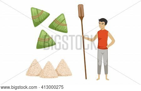 Zongzi As Rice Dumpling Wrapped In Bamboo Leaves For Dragon Boat Festival And Man With Oar Vector Se