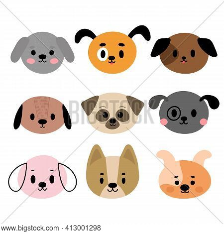 Adorable Dogs. Set Of Cute Cartoon Animals Portraits. Fits For Designing Baby Clothes. Hand Drawn Sm
