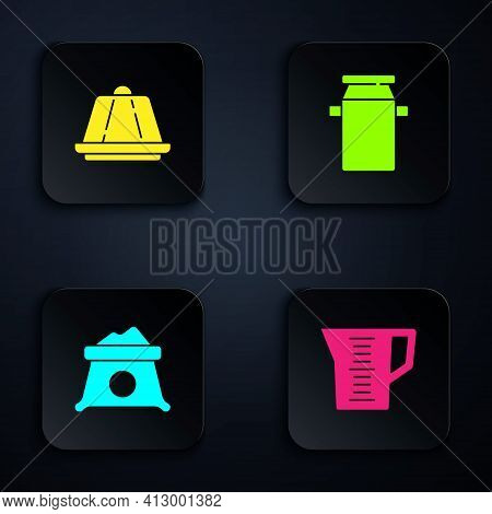 Set Measuring Cup, Pudding Custard, Bag Of Flour And Can Container For Milk. Black Square Button. Ve