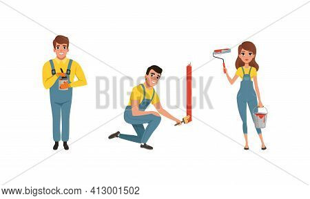 Male And Female House Painter In Overall Standing With Roller And Bucket Vector Set