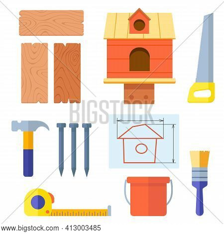 Set Of Building Materials And Tools For Building Birdhouse With Handmade. Crafts Made Of Wooden Boar