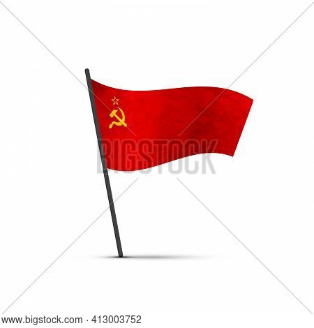 Ussr Flag On Pole, Infographic Element On White