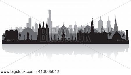 Melbourne Australia City Skyline Vector Silhouette Illustration