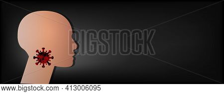 Template For Medical Brochure Sore Throat With Space For Text. Throat Irritation Silhouette Of A Man