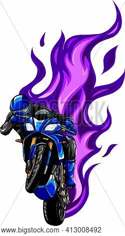 Colored Vector Illustration Of Fiery Motorbike With Rider