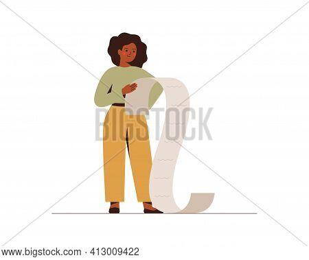 African American Businesswoman Holds Big Checklist Or Task Paper Document. Confident Black Female En