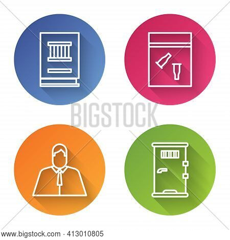 Set Line Law Book, Evidence Bag And Bullet, Lawyer, Attorney, Jurist And Prison Cell Door. Color Cir