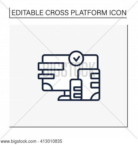 Cross Platform Design Line Icon. Website Design. Icons, Appearance, Labels. Creating On Laptop. Digi