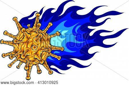 Vector Illustration Of Fiery Corona Virus Design