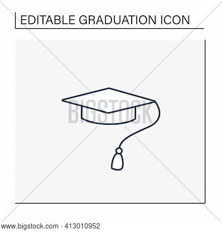 Graduation Cap Line Icon. Special Graduate Hat With Tassel. Holiday Costume. Graduate Uniform.gradua