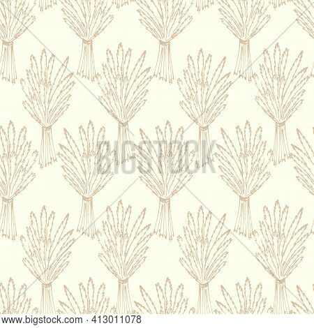 Seamless Pattern With Bundles Of Spikelets. Spikelets Of Cereals, Continuous Repeating Pattern.vecto